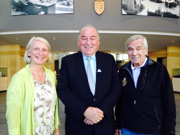 Paula, Premier Bob MacLeod, Jim in rotunda of MWT Legislature