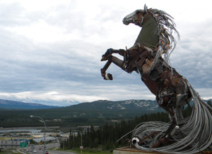 Scrap metal horse overlooks Whitehorse, YK